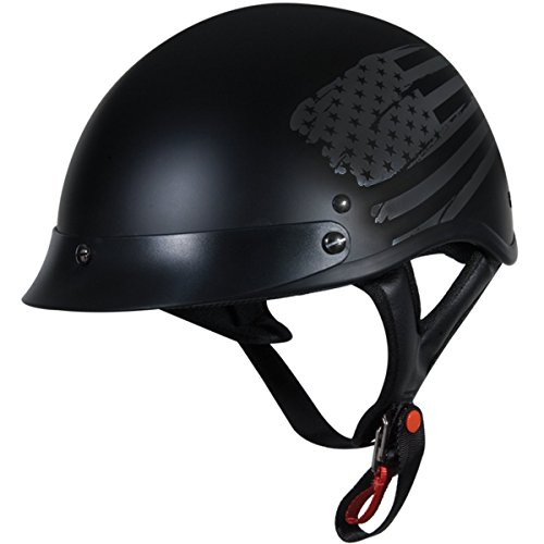 TORC Unisex-Adult Size Style T53 Black Hills Motorcycle Half Helmet with Graphic (Flag), X-Large (Helmet Motorcycle Flag)