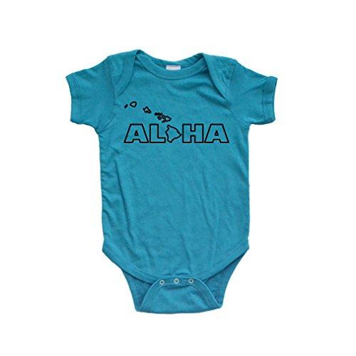Apericots Aloha Hawaii Hawaiian Cute Baby Handmade Quality Fun Unisex Bodysuit (Newborn, Turquoise)