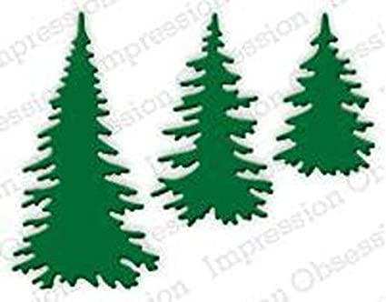 Evergreen tree die cut for card or scrapbook 6 pieces