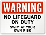 Warning, No Lifeguard On Duty Swim At Your Own Risk Sign, 30'' x 24''