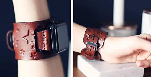 (iwatch Leather Cuff, Leather Apple Watch band, for 38mm 42mm iwatch band, Star pattern, Brown, Custom made to)