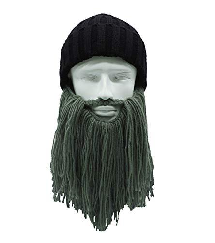 MerryJuly Men's Head Barbarian Vagabond Beanie Original Foldaway Beard Hats Viking Horns Bearded Caps (Beanie Dark Grey -