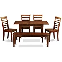 East West Furniture NOML6C-MAH-W 6-Piece Kitchen/Dinette Table Set