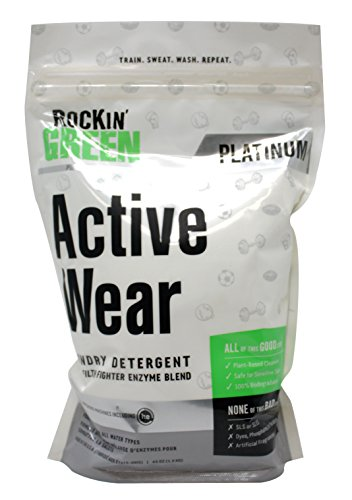 Eco Friendly Laundry Soap (Rockin' Green Platinum Series Active Wear Powdered Laundry Detergent, 45 oz. - All Natural, Biodegradable, and Eco-Friendly)
