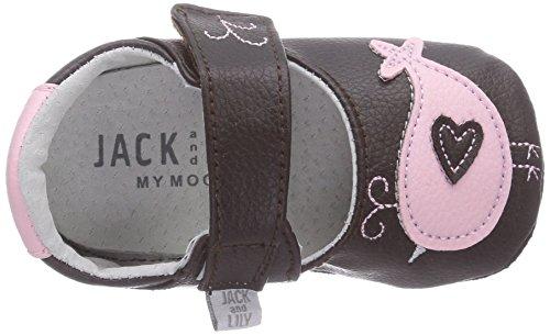 Jack & Lily My Mocs Birdie Brown - Zapatitos de piel 100% para los primeros pasos, multicolor