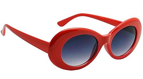 WebDeals - Oval Round Retro Oval Sunglasses Color Tint or Smoke Lenses Clout Goggles (Red, - Lens Red Goggles