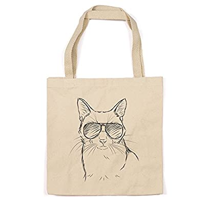 Cool Cat Heavy Duty 100% Cotton Canvas Tote Shopping Reusable Grocery Bag 14.75 x 14.75 x 5