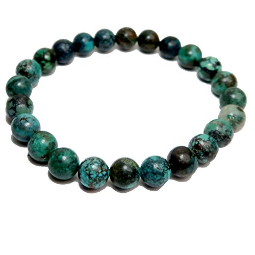 SatinCrystals Turquoise Bracelet 7mm Boutique Genuine Blue Black Gemstone Round Handmade Stretch B01 (7) by SatinCrystals (Image #1)