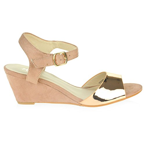 AARZ LONDON Womens Ladies Evening Wedding Party Prom Casual Medium Wedge Heel Sandal Shoes Size Pink azCghK