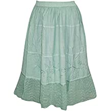 Womens Skirt Boho Gypsy Moss Green Embroidered Medieval Skirts