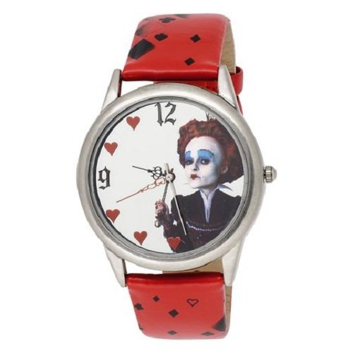 Alice in Wonderland Women's AL1011 Red Queen Mirror Dial Red Leather Strap (Queen Of Hearts New Alice In Wonderland)