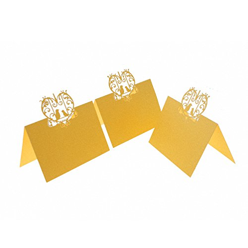UNIQLED Pack of 60 Laser Cut Perfect Pair Love Birds Paper Wedding Table Numbers Place Card Escort Name Cards for Wedding Party Decoration (Gold)]()