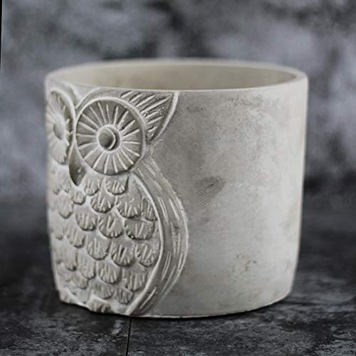 Silicone Mold for Cement Vase Tool Circular with Owl Pattern Concrete Flowerpot Mould by nicole (Image #5)
