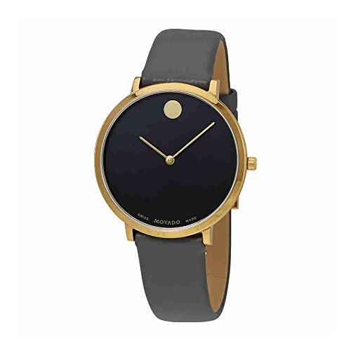 Women's Museum 70th Anniversary 35mm Grey Leather Band Gold Plated Case Swiss Quartz Watch - Movado 0607140
