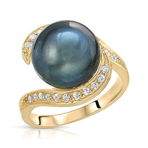 14K Yellow Gold South Sea Cultured Pearl Ring with White Diamonds (9, Tahitian South Sea - Tahitian Pave Ring
