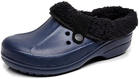 W&XY Hombre Invierno Zapatillas Casa Calentar Felpa algodón Agujero Zapatos: Amazon.es: Deportes y aire libre