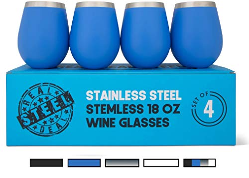 Stainless Steel Wine Glasses: Large 18 Oz Set of 4 Stemless Metal Wine Glass Set – Outdoor Wine Tumbler for the Pool, Camping, Cookouts, Travel – Set of 4 Drinking Cups (Blue)