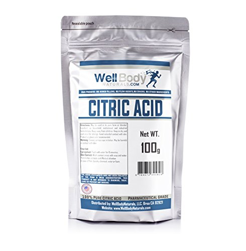 Citric Acid Powder - Fine Granular - 100% Pure Anhydrous - Pharmaceutical Grade Quality 100 gram - Citric Acid Cleaner