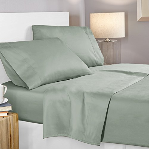 Clara Clark - 400-Thread-Count, 100-Percent Egyptian Cotton deep Pocket Super Soft Sheet Set, Twin Size Mint, Solid ()