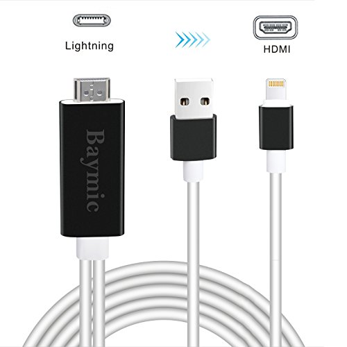 Cables To Go Dvi Usb Cable (Lightning to HDMI Adapter Cable, Baymic 6.6ft iPhone to HDMI Cable Lightning Digital AV HDMI Connector 1080P HDTV Cord for iPhone X 8 7 6Plus/iPad/iPod to TV Projector Monitor, Plug and Play)