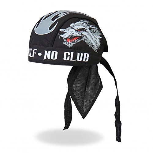 Hot Leathers Authentic Bikers Premium Headwraps, LONE WOLF No Club - High Quality Micro-Fiber & Mesh Lining HEADWRAP