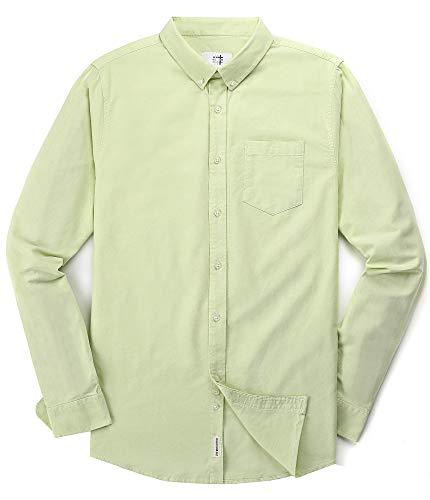 Men's Oxford Long Sleeve Button Down Dress Shirt with Pocket,Green,Medium