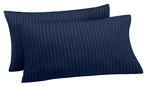 Pinzon 160 Gram Pinstripe Flannel Pillowcases - King, Navy P