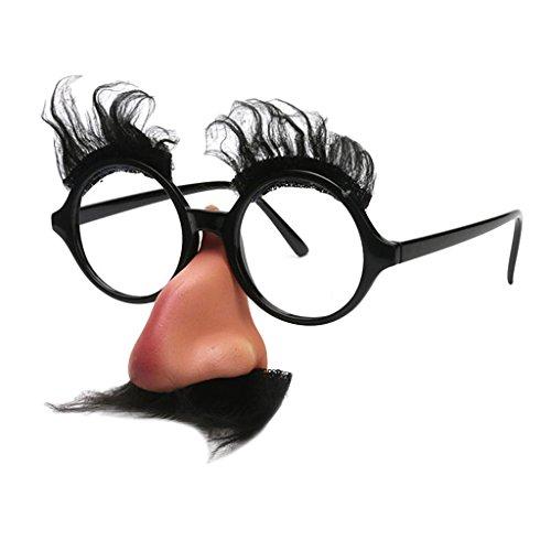 Baoblaze Gafas de Forma Linda Negro Bigote Ceja Gran Nariz Unisex Adulto Eventos de Boda Fiesta de Boda Fotomatón