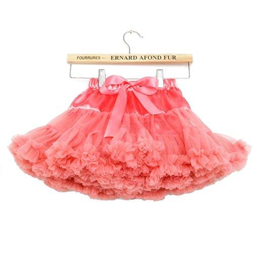 (storeofbaby Girls Solid Color Fluffy Tutu Skirt Ruffle Tiered Pettiskirt,0-1Years/XS,Coralred)