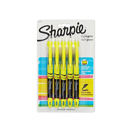 nt Sharpie Pen-Style Highlighter, Yellow, 5-Pack (Pen Style Liquid)