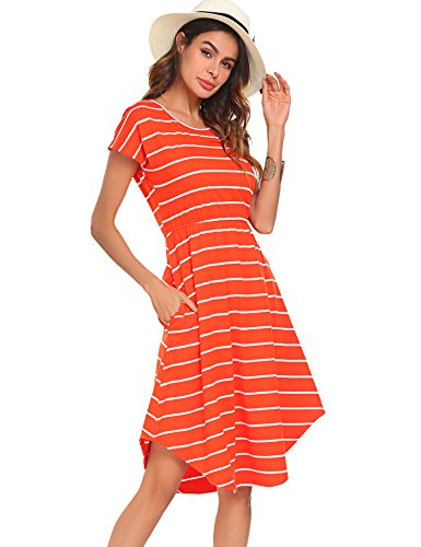 Halife Women's Summer Boho Stripe Elastic Waist Loose Beach Midi Dress (XS, Orange)