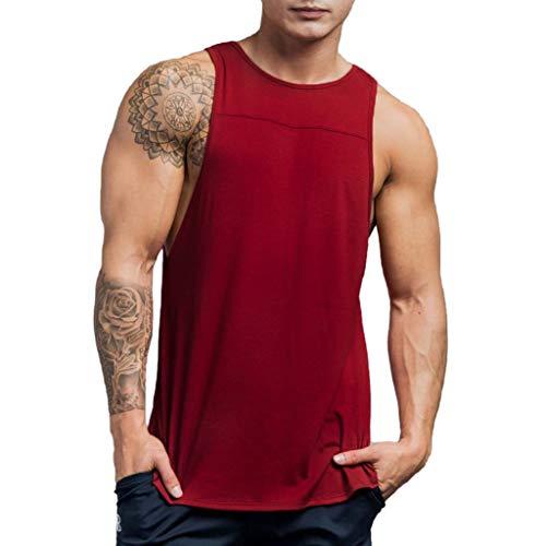 Men's Sleeveless Tank Top TANGSen Solid Fashion Summer Muscle T-Shirt Bodybuilding Sport Fitness Vest Wine ()
