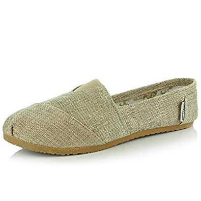 DailyShoes Women's Classics Flat Casual Flats Memory Cushion -Ultra Breathable Slip Resistant - Perfect Daily Shoes Slip-On Working Sneaker Shoes, Natural Linen, 5 B(M) US