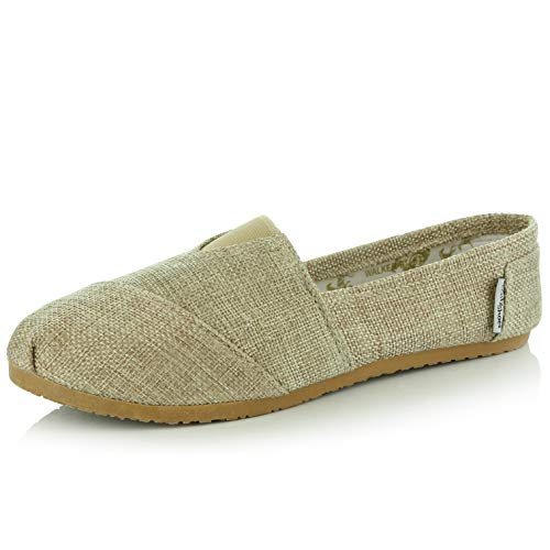 DailyShoes Women's Classics Flat Casual Flats Memory Cushion -Ultra Breathable Slip Resistant - Perfect Daily Shoes Slip-On Working Sneaker Shoes, Natural Linen, 6.5 B(M) US