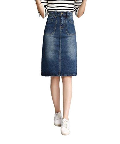 NiSeng Femme Denim Jupe lgante Haute Taille Bifurcation Paquet Hanche Jeans Jupe Slim Fit Jeans Jupe Bleu