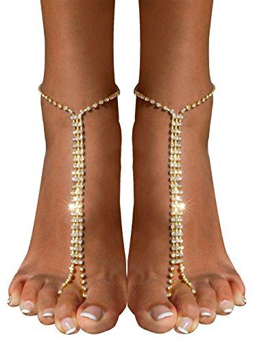 Bienvenu 2 Pieces Beach Barefoot Adorn Alloy Golden Rhinestone Foot Anklet Chain