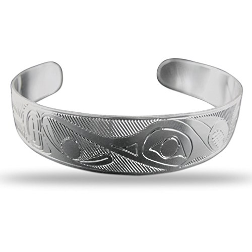 Sterling Silver Hummingbird Pacific Northwest Coast Native 1/2 Inch Wide Bracelet