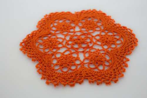 Handmade Tatting Lace Floral Coasters / Doilies. 100% Cotton. Pumpkin Orange Color. 6 Inch Round. Set of 4. ()