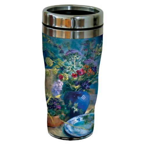 Tree-Free Greetings sg23707 Lilac and Flower Still Life by Nel Whatmore Travel Tumbler, 16-Ounce