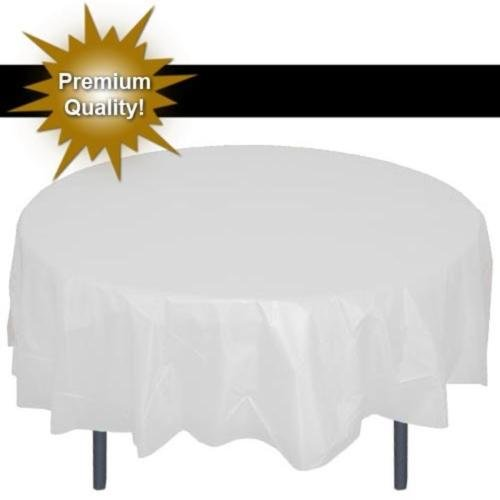 """Premium White 84"""" Round Plastic Tablecloth, party tablecover-Bulk- FREE SHIPPING"""