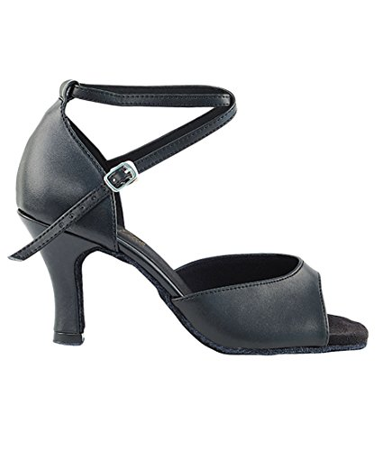 Veldig Fine Ballroom Latin Tango Salsa Dans Sko For Kvinner 6012 3 Tommers Hæl + Sammenleggbar Børste Bunt Svart