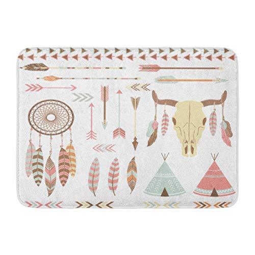 Emvency Doormats Bath Rugs Outdoor/Indoor Door Mat American Tribal Indian Native Catcher Drawing Dream Navajo Bathroom Decor Rug 16