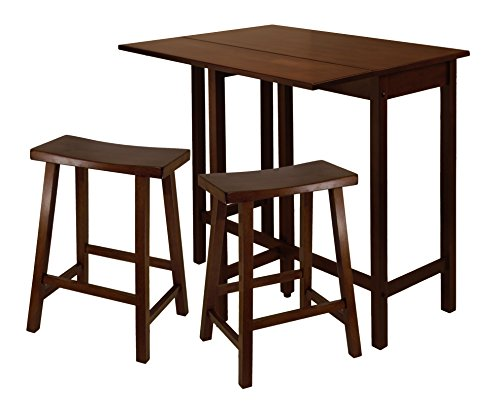 h Drop Leaf Table with 24-Inch Saddle Seat Stool, 3-Piece (Antique Walnut 24 Inch Saddle Stool)