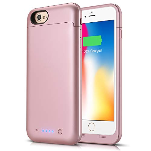Battery Case for iPhone 8/7, Boanv 4500mAh Portable Protective Charging Case for iPhone 7 8 (4.7 inch) Rechargeable Extended Battery Pack Charger Case -Rose Gold ()