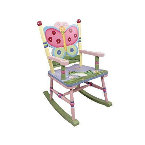 HYYTY-Y Kid's Rocking Chair, Wooden Hand-Painted Garden Butterfly Armchair for Children Baby Girl ()