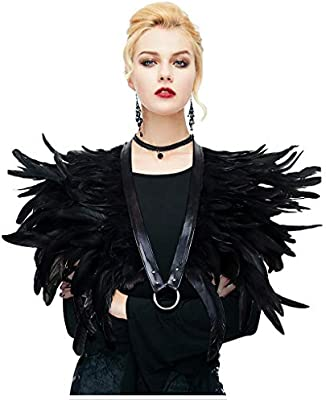 L/'vow BLACK Feather Shrug Cape Shawl Collar Halloween Costumes For Women 0