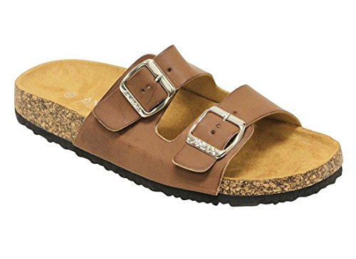 ANNA Womens Light Weight Cork Platform Double Buckles Slide Sandal Chestnut Color Size 10 ()