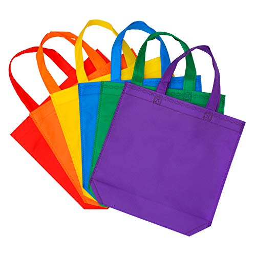 Aneco 24 Pack 11.5 by 11.5 Inches Party Bags Non-Woven Treat Bags Gift Tote Bag Bottom Goodie with Handles for Christmas Kids Birthday Party Favor ()