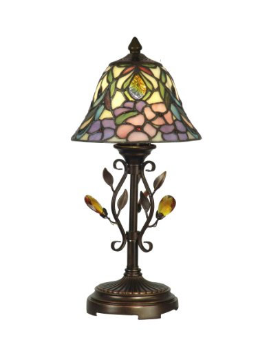 (Dale Tiffany TA90215 Crystal Peony Accent Lamp, Antique Golden Sand and Art Glass Shade)