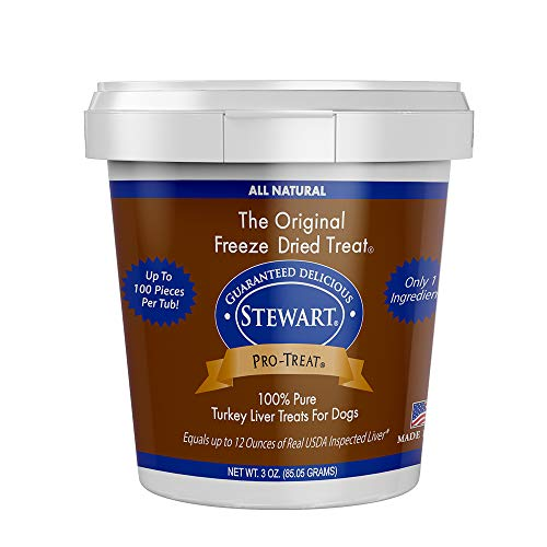 Stewart Freeze Dried Turkey Liver Dog Treats, Grain Free, All Natural, Made in USA by Pro-Treat, 3 oz., Resealable Tub